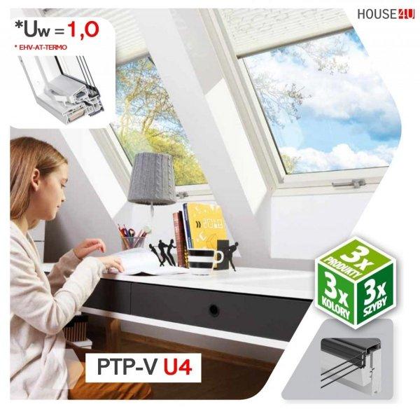 Dachfenster Fakro PTP-V U4 Kunstoff Schwingfenster 3-fach-Verglasung Energiesparende Uw=1,1 Ug=0,7 W/m²K weiße, innen mit verzinktem Stahlkern verstärkte Kunststoffprofile PVC