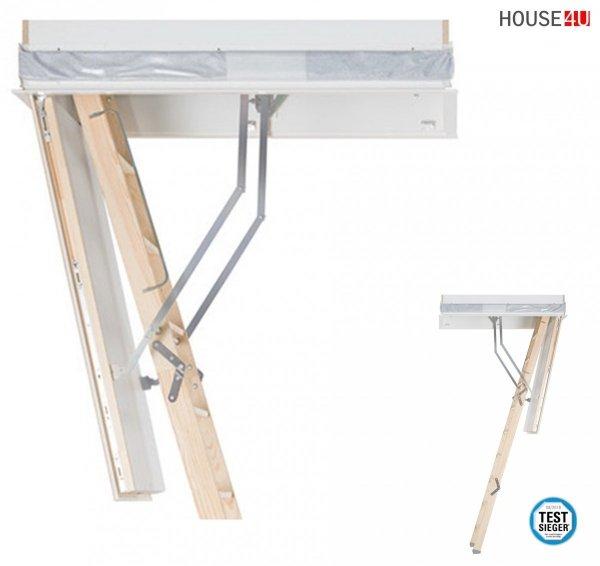 Roto Bodentreppe Designo Dachbodentreppe Holz Energiesparende Treppe, Superthermolisierte Uw= 0,60, Lukenkasten weiß www.house-4u.de