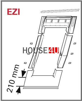 Eindeckrahmen Roto EDT Rx200 (EDR EZI+WD) für ebener Ziegel mit WD