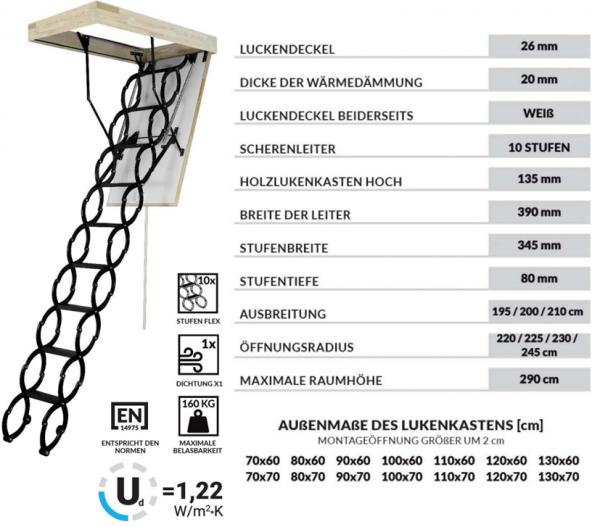 Bodentreppen OMAN FLEX TERMO U= 1,22 Scherentreppe
