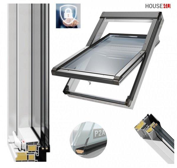 Dachfenster OKPOL IGOV N23 P2A Kunststoff Schwingfenster, 3-Scheiben Uw=0,83 Energiesparende, ESG außen, VSG innen P2A-Verbundsicherheitsglas ausgestattet _ house-4u.de
