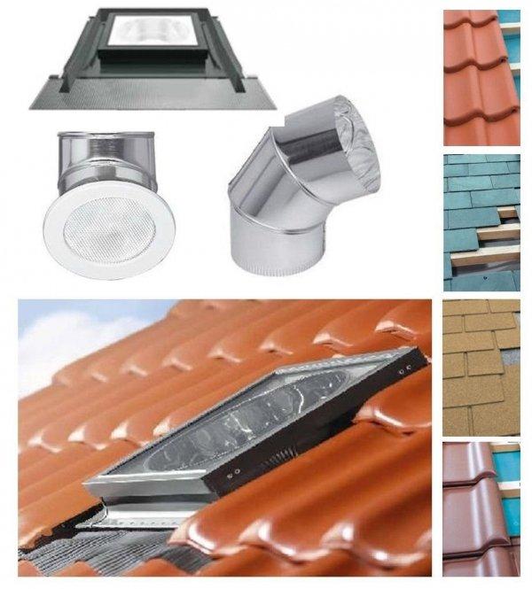 OUTLET: FAKRO Tageslicht-Spot SRS Durchmesser ∅ 250 350 550mit starrem Rohr incl. Eindeckrahmen, für flache Dacheindeckungen  bis zu 2 x5mm Versand 48h