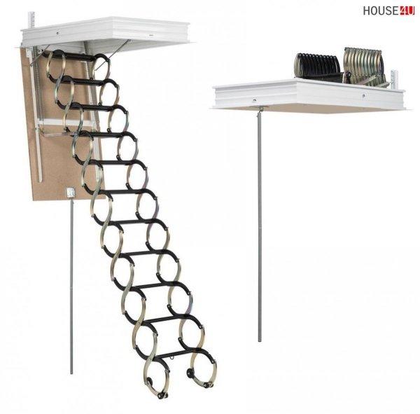 Bodentreppe DOLLE LUSSO Scherentreppe mit einer Metallleiter U= 0,9 Wm2K / 150 kg Maximalbelastung