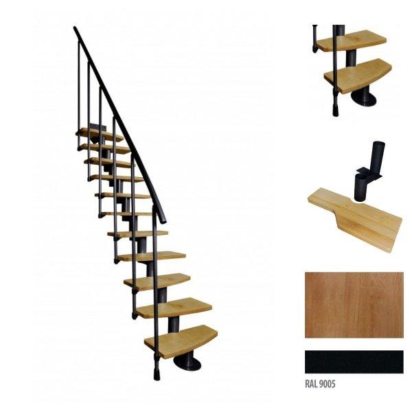 Treppen Atrium Mini PLUS Schwarz 11 Stufen Natürliche Erle modular Systemtreppen