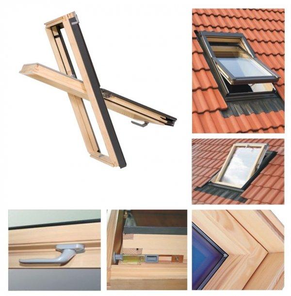 Dachfenster 114x118 Holz-Fenster Oman SELECT EN Uv =1,3 W/m² Oman Schwingfenster klar lackiert incl. Eindeckrahmen