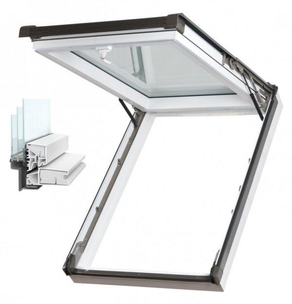 Dachfenster Kipp-Schiebefenster Okpol IGKV N22 Uw=0,86 3-Fach Verglsung / IGK I3 PVC Profile in Weiß