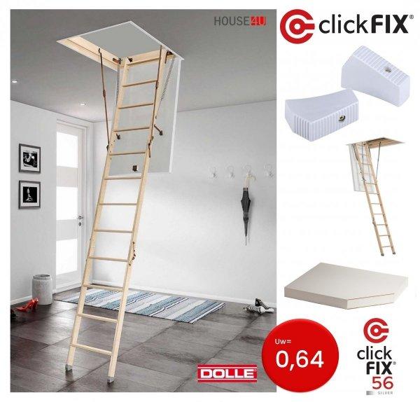 Bodentreppe DOLLE 56 SILBER clickFIX® U=0,64 aus Holz Energiesparende Treppe 1 _ house4u.de