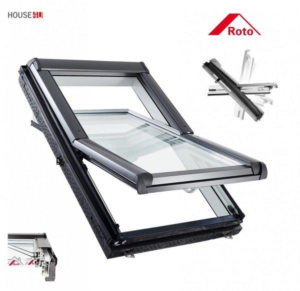 Dachfenster Roto R4 Designo WDF R45 K WD AL Uw=1,3 blueLine Schwingfenster aus Kunststoff mit Wärmedämmblock
