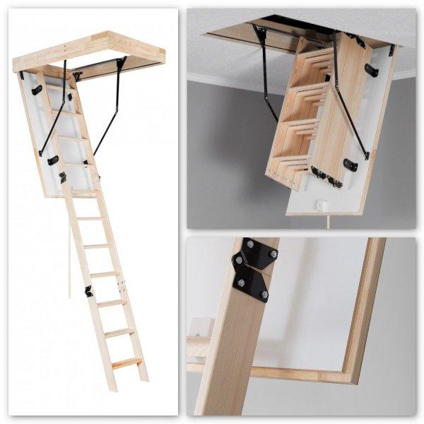 Bodentreppe Oman Long Termo PS aus Holz für hohe Räume