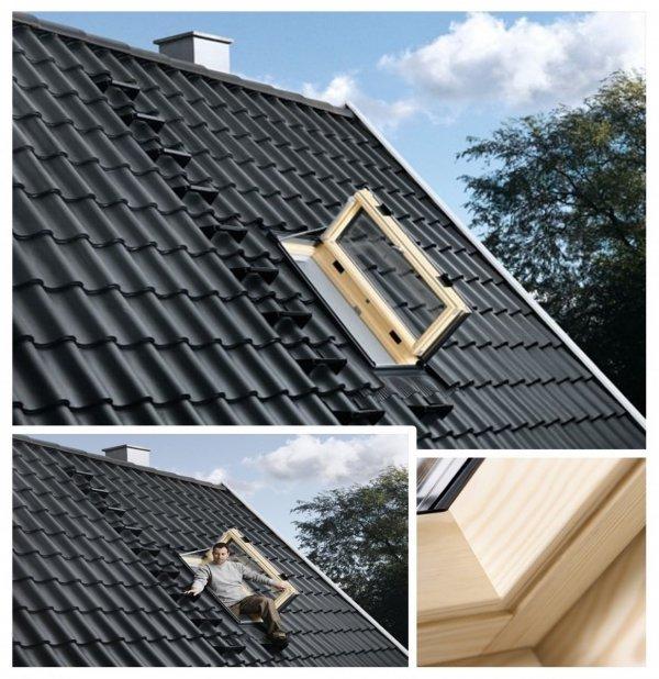 VELUX Wohn- und Ausstiegsfenster GXL 3066 mit Türfunktion FK06 66x118 cm Uw=1,0  Dachfenster GXL aus Holz klar lackiert ENERGIE PLUS, 3-fach Verglasung Aluminium