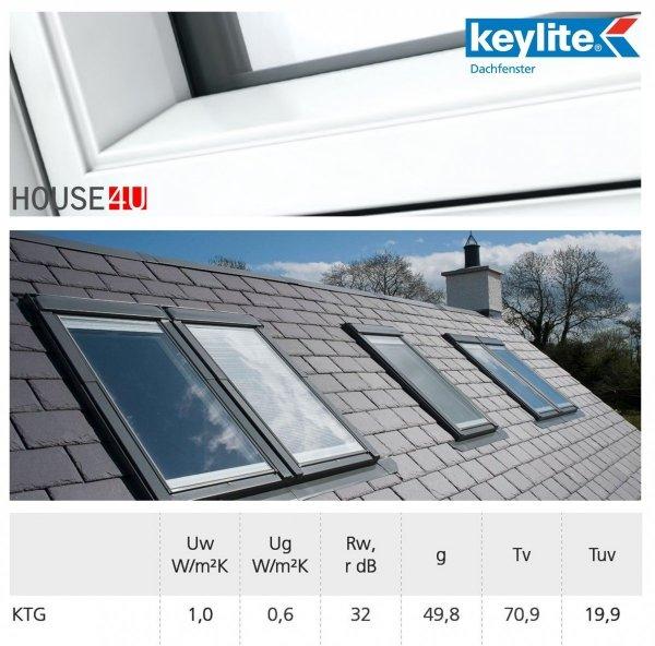 Dachfenster Schwingfenster KEYLITE BW modernen weißen Oberfläche 3-fach-Verglasung ATG Uw=1,1 Dachfenster aus Holz: Weiss lackiert, Acryllack weiß farbe/ Boden-Griff, Mikrobelüftungsfunktion, Aluminium, lackiert, RAL 7043 _house-4u.de
