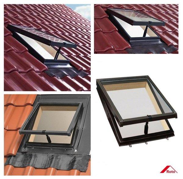 Ausstiegsfenster Roto R27 EDZ SB L/R (WDL R27 H) Dachausstieg Lucarno mit Klapp-Funktion Kalt-Dachausstieg / Öffnung nach oben 45cm x 55cm (4/5) 45cm x 73cm (4/7)