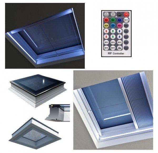 Flachdach-Fenster OKPOL PGX A1 LED-Fenster PVC Festverglastes + SOMFY Fernbedienung