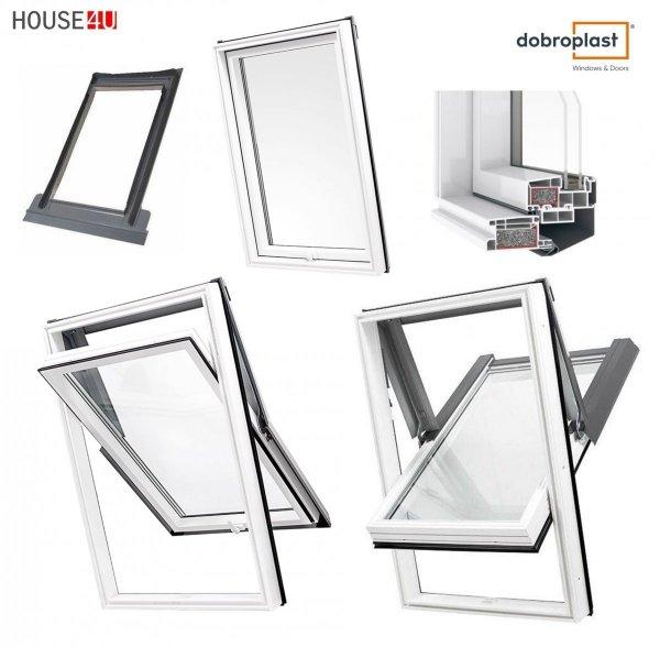 Dachfenster DOBROPLAST AFG SKYLIGHT TERMO Schwingfenster Kunststoff - Profil PVC Weiß Uw= 1,3 Dachschwingfenster 2-fach Verglasung 7043 8019 RAL Boden-Griff  _ house-4u.de
