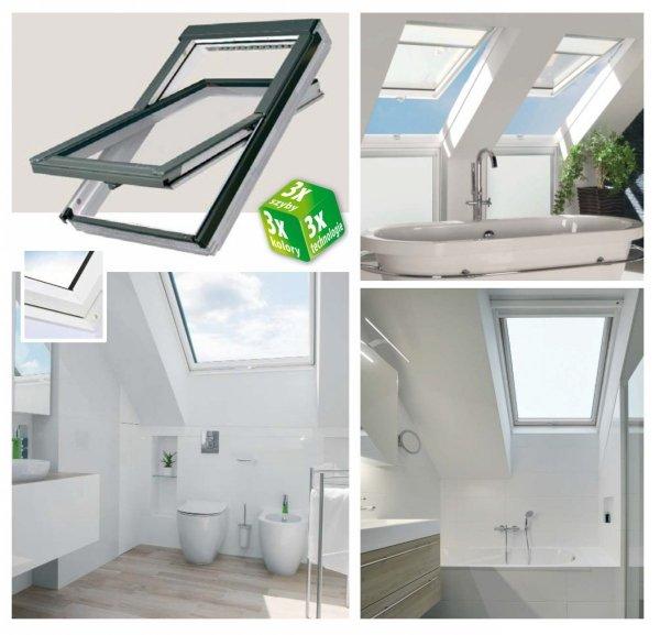Dachfenster Fakro PTP U4 114x140 3-fach-Verglasung Schwingfenster Energiesparende Uw=1,1 Ug=0,7 W/m²K weiße,  innen mit verzinktem Stahlkern verstärkte Kunststoffprofile PVC Ohne Dauerlüftung  erhöhter Feuchteresistenz mit Eindeckrahmen