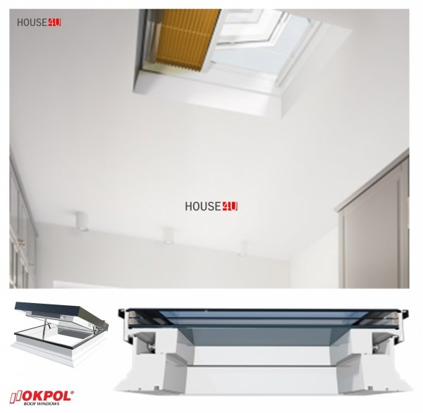 Elektrisches Flachdach-Fenster OKPOL PGC B1 Flachverglasung 3-fach, Uw=0,66 W/m²K, mit Regensensor elektrisch, Tageslicht für flache Dächer Elektrisch Gesteuert, FlachGlass, ohne kuppel, PVC _ house-4u.de