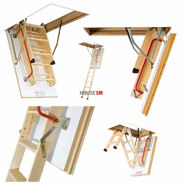 OUTLET: Bodentreppe FAKRO LWT 60X130 X305 Henergiesparende Bodentreppe aus Holz U=0,51 W/m²K