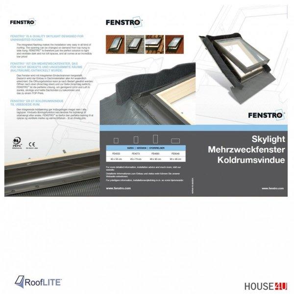 Ausstiegsfenster Rooflite  90 x 48 cm Klappfenster, Drehfenster, Skylight Fenstro für ungeheizte Räume, Kaltraumfenster