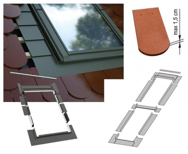 Kombi-Eindeckrahmen-Set Okpol KY2LH  für hohe Biberschwanzeindeckungen www.house-4u.eu