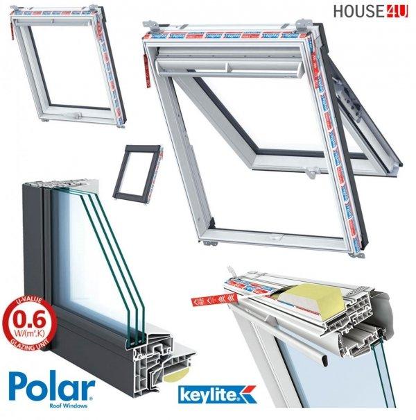 Dachfenster Keylite Polar PVC Klapp-Schwingfenster PTH PFE  Uw=1,0 Krypton Triple Glass - KTG 3-Fach Verglasung, weiß Kunststoff, Fluchtwegsfenster 0 – 45 ̊ offen, Kunststoff mit Wärmedämmblock, Bad-Dachfenster