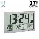 Zegar elektroniczny TFA 60.4517 ścienny biurowy sterowany radiowo z termohigrometrem język polski duży 37 cm