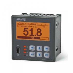 APAR AR206-8 rejestrator danych uniwersalny 8-kanałowy temperatury i sygnałów analogowych wyświetlacz LCD tablicowy 96x96 mm