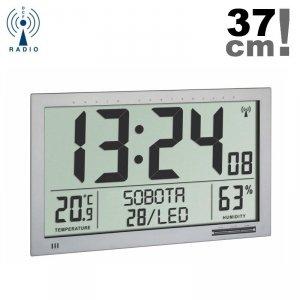 TFA 60.4517 zegar elektroniczny ścienny biurowy sterowany radiowo z termohigrometrem język polski duży 37 cm