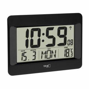 TFA 60.4519 zegar elektroniczny ścienny biurowy sterowany radiowo z termometrem podświetlany 23 cm