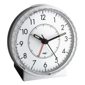 TFA 60.1010 budzik biurkowy zegarek wskazówkowy płynąca wskazówka sterowany radiowo
