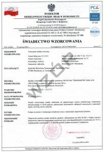 Świadectwo wzorcowania termometru SW-1-PCA rejestratora temperatury z akredytacją PCA