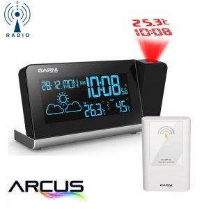 Garni 335 ARCUS stacja pogody bezprzewodowa z czujnikiem zewnętrznym budzik z projektorem