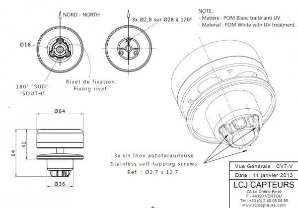 LCJ Capteurs CV7-V wiatromierz ultradźwiękowy dwuosiowy mini-anemometr na jacht NMEA 0183