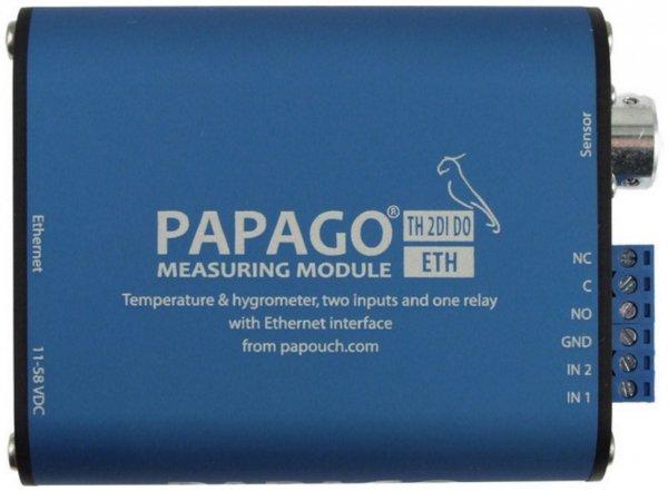 Papouch TH 2DI DO ETH PAPAGO moduł pomiarowy internetowy wieloparametrowy zasilanie PoE Modbus TCP, Ethernet, LAN, IP