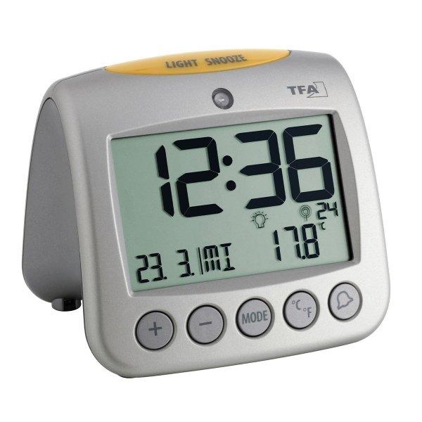 TFA 60.2514 SONIO budzik biurkowy zegarek elektroniczny LCD z termometrem sterowany radiowo