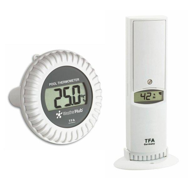 TFA 30.3310 czujnik temperatury i wilgotności bezprzewodowy z czujnikiem basenowym temperatury wody do WeatherHub Smart Home