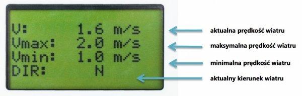 PM Ecology VIS-103 rejestrator prędkości i kierunku wiatru LCD 3-kanałowy wiatromierz alarmowy z wbudowaną pamięcią