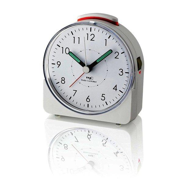 TFA 60.1513 budzik biurkowy zegar wskazówkowy sterowany radiowo płynąca wskazówka