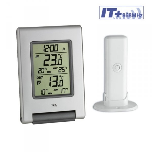 TFA 30.3050 EASY BASE termometr bezprzewodowy z czujnikiem zewnętrznym błyskawiczna transmisja