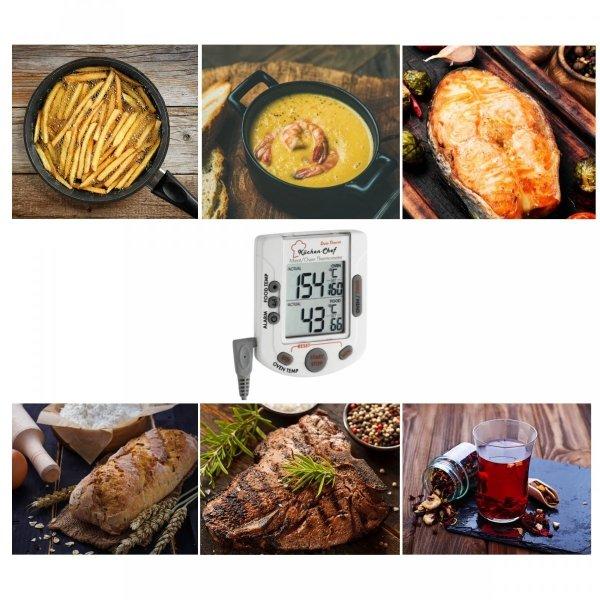 TFA 14.1503 KÜCHEN-CHEF DUO-THERM termometr kuchenny elektroniczny z sondą szpilkową 2 w 1 temperatura piekarnika i mięsa