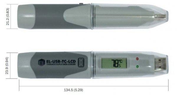 Rejestrator temperatury Corintech USB-TC-LCD data logger USB termometr z sondą termoparową typu K