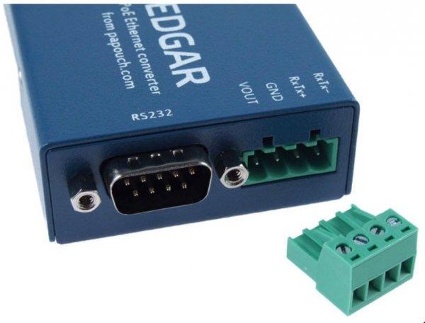 Papouch EDGAR konwerter sygnału RS232/RS485 do Ethernet serwer internetowy PoE urządzeń przemysłowych RS485/RS232