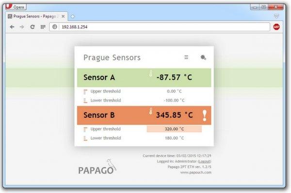 Papouch 2TC_ETH PAPAGO moduł pomiarowy internetowy dwukanałowy zasilanie PoE, termoprara K, Modbus TCP, Ethernet, LAN, IP