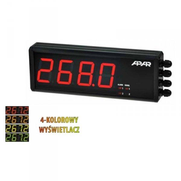 APAR AR751 miernik uniwersalny dwukanałowy temperatury i sygnałów analogowych wyświetlacz wielkogabarytowy 57 mm naścienny 300 x106 mm zegar