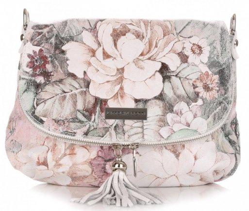 Listonoszka Skórzana VITTORIA GOTTI Made in Italy V17  w Kwiaty Multikolor Biała