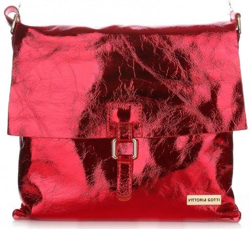 Listonoszka Skórzana VITTORIA GOTTI Made in Italy V05721 Czerwona Lakier