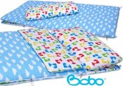 Śpiworek przedszkolaka błękitny w chmurki i liski