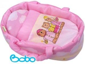 Nosidełko dla lalki do 35 cm Różowe chmurki z misiami