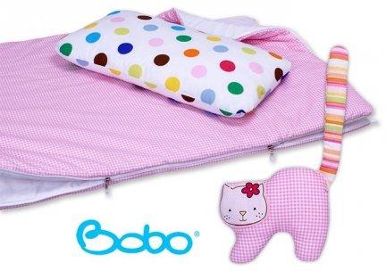 Śpiwór 155x70 zima/lato różowa kratka