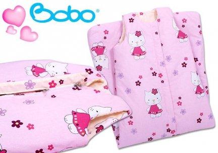 Śpiworek dla dziecka od 4 do 7 lat różowy w kotki