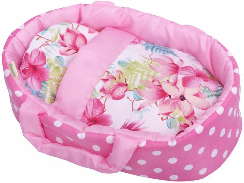 Nosidełko dla lalki różowe w grochy i kwiaty